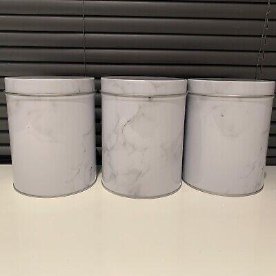 SET OF 3 VINTAGE RETRO ENAMEL TEA COFFEE SUGAR CANISTERS TINS CARAVAN CAMP TINS