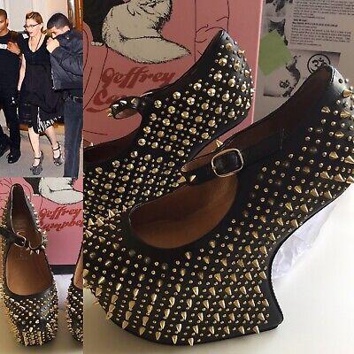 Jeffrey Campbell Prickly Wedge Heel Leather size 4UK Gold Black 100% GENUINE