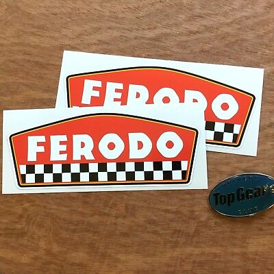 FERODO Brake Pad Shaped Classic Retro Car Stickers Decals 150mm 2 off