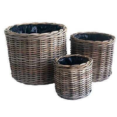 Set of 3 Round Grey Wicker Rattan Planters Pot Holders with Plastic Liners