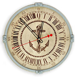 Anchor 24 hours Large wooden Wall Clock Handcrafted nautical marine home decor