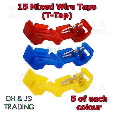 15 Mixed Wire Tap Connectors - T Tap Connector Wire Splice Terminal Terminals