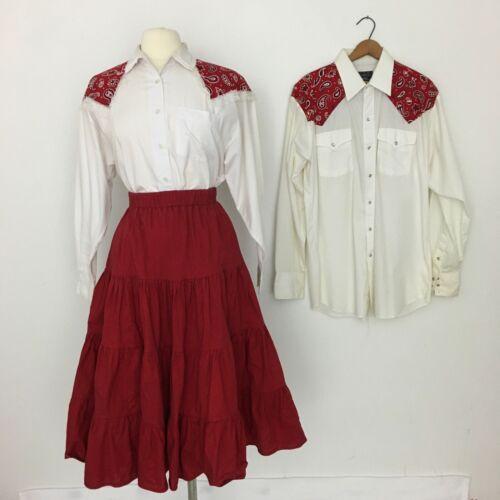 VTG Square Dance Costume Western Fringe His & Hers Mens XL Womens M/L Paisley