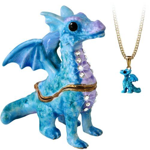 "Enameled Dragon ""Secrets"" Bejeweled Trinket Box With Hidden Pendant Necklace!"