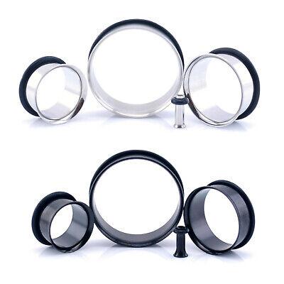 Steel SINGLE FLARE Flesh Tunnel Ear Plug With O-Ring 2mm - 30mm Silver & Black Black Single Flare Tunnel Plug