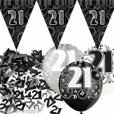 Black Silver Glitz 21st Birthday Flag Banner Party Decoration Pack Kit Set