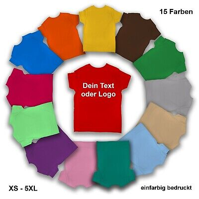 T-Shirt mit Text o. Logo / 15 Shirt Farben / Druckfarbe wählbar / Damen & Herren