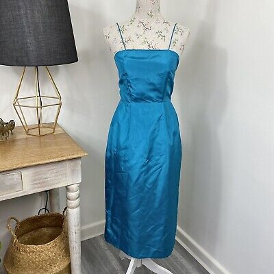 80s Dresses | Casual to Party Dresses Vintage 80s Womens Midi Dress Teal Spaghetti Strap Party Formal Size 6 - 8 $23.19 AT vintagedancer.com