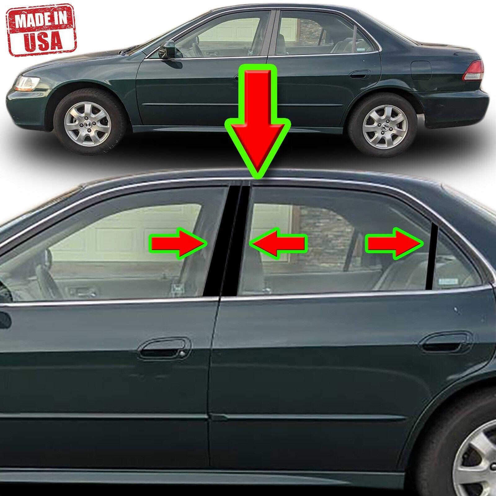 Black Pillar Trim For Honda Accord 98 02 4dr 6pc Set Door Cover Trim Ebay