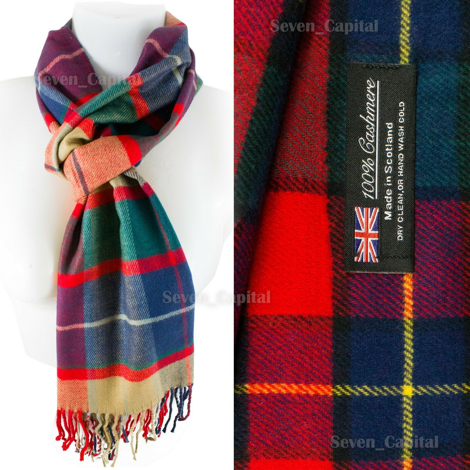 Mens Womens Winter Warm SCOTLAND Made 100% CASHMERE Scarf Scarves Plaid Wool 35. Plaid: Red/Blue/Yellow