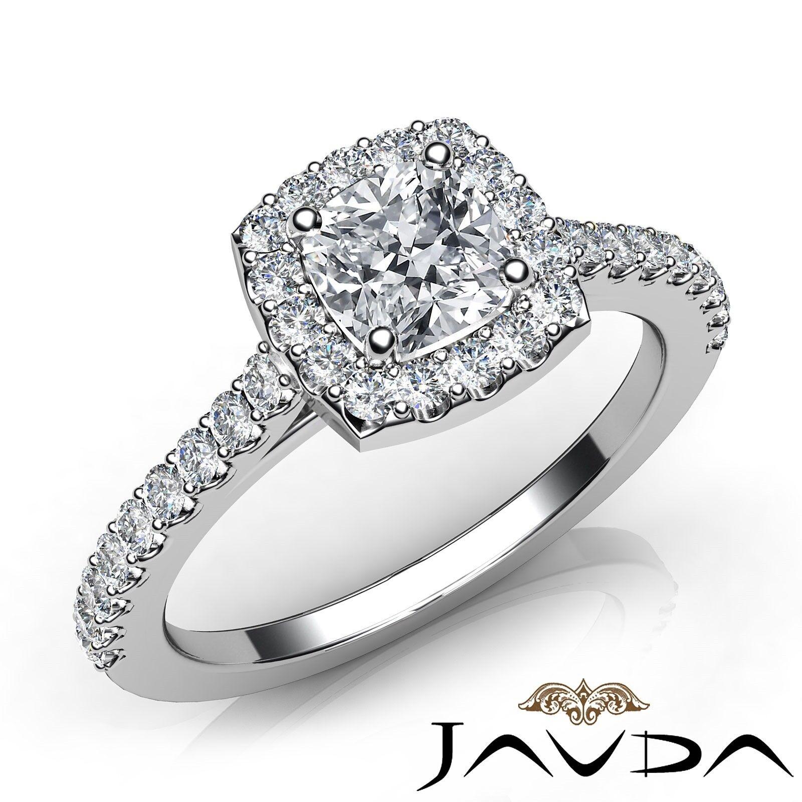 1ctw U Cut Pave Set Halo Cushion Diamond Engagement Ring GIA E-VS2 White Gold