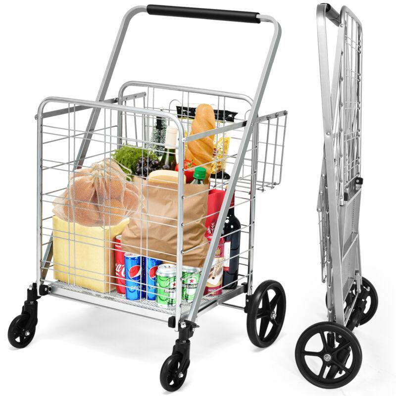 Heavy Duty Folding Shopping Cart Utility Jumbo Double Basket 330lbs Silver