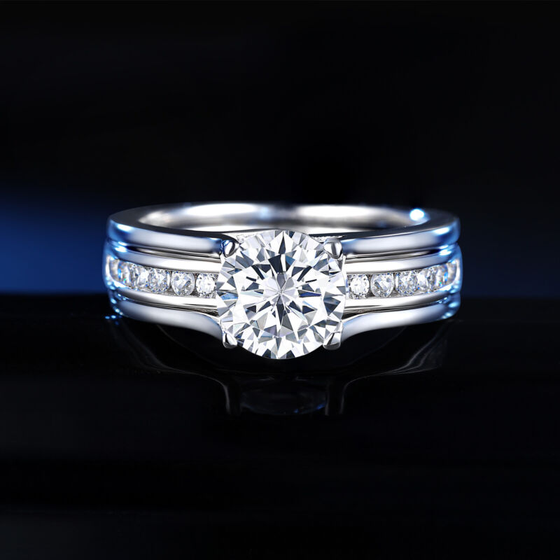Wedding Rings For Women Engagement Ring Set 1.8ct Sterling Silver Round Aaaaa Cz