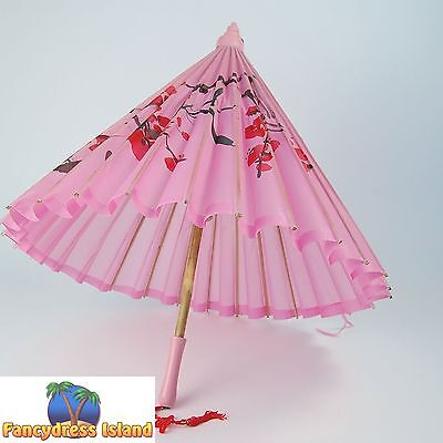JAPANESE SILK PARASOL WOODEN HANDLE - womens fancy dress costume accessory