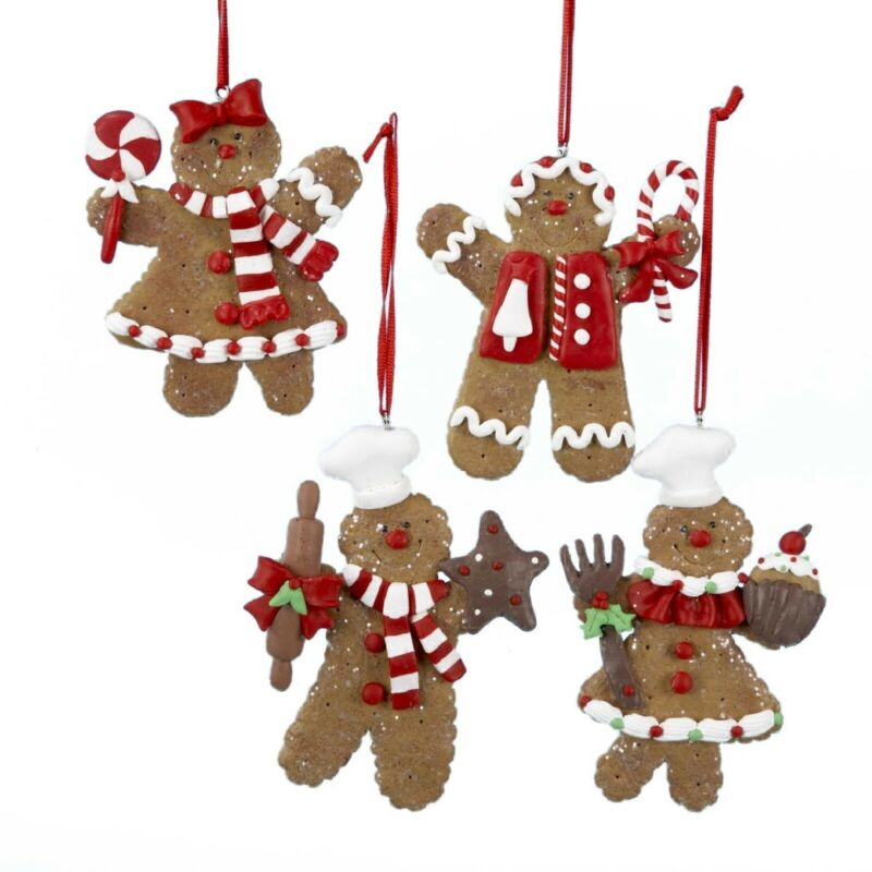New Set Of 4 Different Peppermint Gingerbread Ornaments D0655