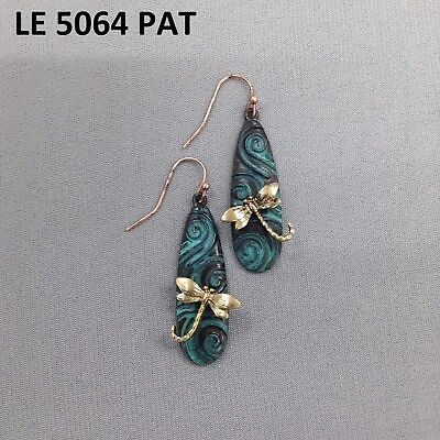 Patina Tone Gold Color Dragonfly Design Oval Bar Shape Drop Dangle Hook Earrings Dragonfly Hook Dangle Earrings