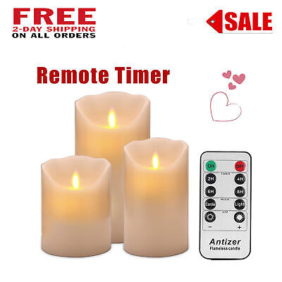 Luminara Flickering Flameless LED Pillar Candles Moving Wick With Remote Timer ()