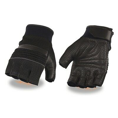 Men's Leather & Mesh Fingerless Gloves with Gel Palm, Reflective Piping **MG7504