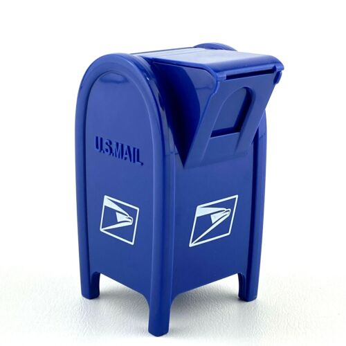 U.S. Mail Blue Plastic Coin Bank Small 2007 USPS Design By Tin Sung Yip