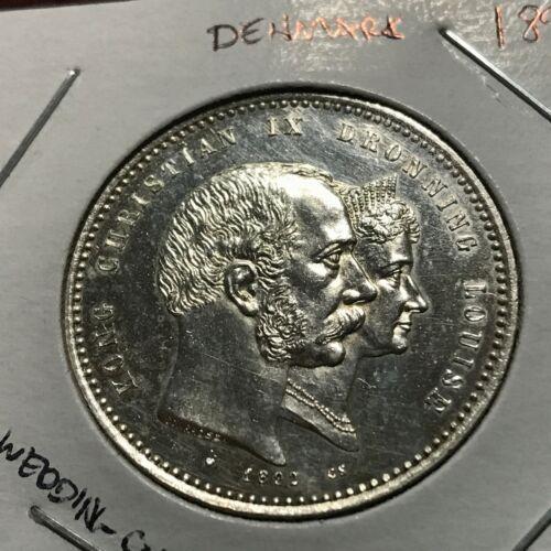 1892 DENMARK SILVER 2 KRONER WEDDING COIN NEAR PROOF LIKE