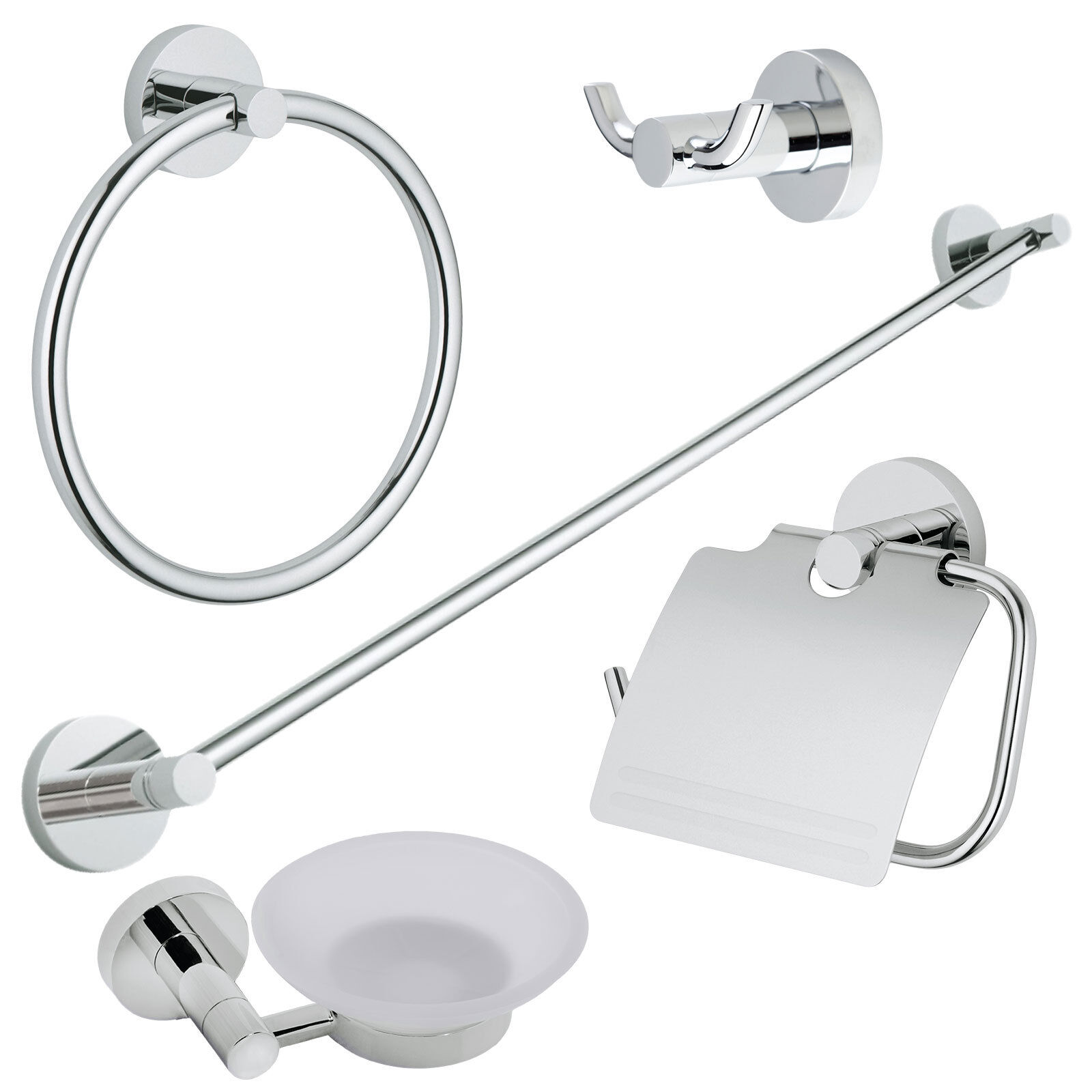 Chrome Modern 5 Pc. Bath Accessories Towel Bar Ring Toilet