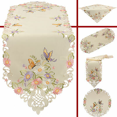 Butterfly Table runner Doily Tablecloth Ecru with coloured Flower Embroidery](Butterfly Tablecloth)