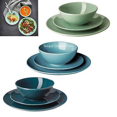 Dinnerware Stoneware Set Dinning Service Plate Bowl Plain Ikea Fargrik 12 18 Pcs Service Plate