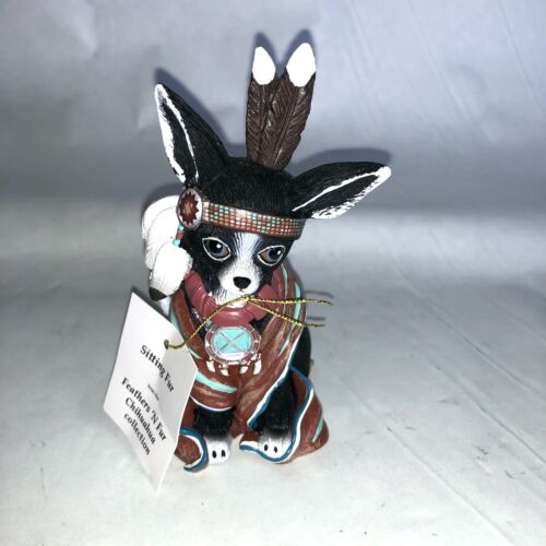 Chihuahua figurine Anthropomorphic Hamilton collection native puppy dog feather
