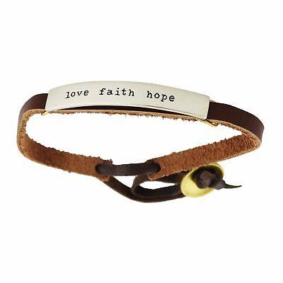Love Faith Hope Bracelet - Adjustable Leather Strap - Mima and Oly -