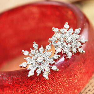 Cute-silver-colour-snowflake-stud-earrings-with-crystal