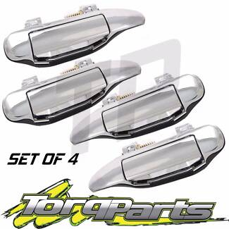 CHROME OUTER DOOR HANDLE SET OF 4 SUIT NISSAN GU PATROL Y61 97-12