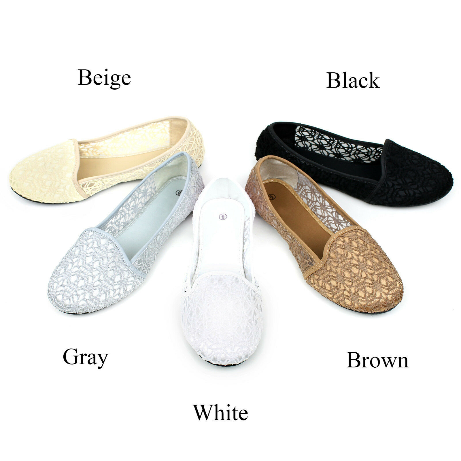 New Womens Lace Crochet Ballet Flat Comfy Slip On Loafers Ballerina Flats Shoes