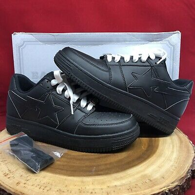 A Bathing Ape Bape Bapesta Foot Soldier Black Leather Size 9.5 Low Air Force 1