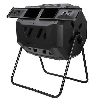Dual Rotating Composting Tumbler Outdoor Garden Heavy Duty Compost Bin 43 Gallon