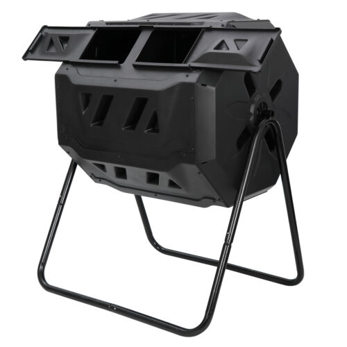Large Composting Tumbler Rotating Outdoor Garden Compost Bin Heavy Duty 43Gal Composting & Yard Waste