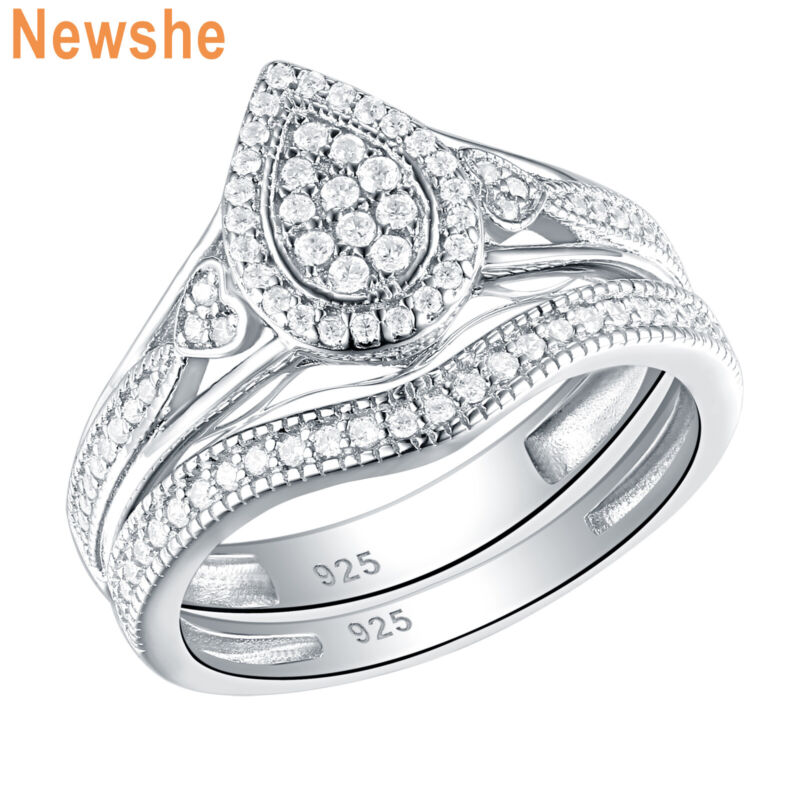 Newshe Teardrop Cluster Aaaa Cz Engagement Wedding Ring Set 925 Sterling Silver