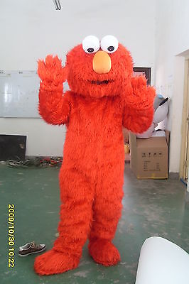 Sesame Street Costumes (Sesame Street Elmo RED Monster Mascot Fancy Dress Halloween Costume Adult)