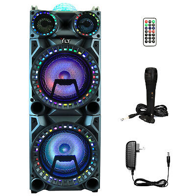 YLT Dual 10 Inch Karaoke Rechargeable Speaker Mic, Bluetooth DJ Projection Dome