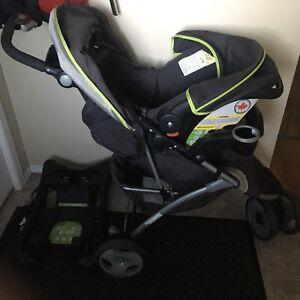 Stroller, car seat & car seat base