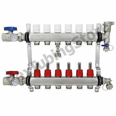 6-branch Pex Radiant Floor Heating Manifold Set - Stainless Steel For 12 Pex