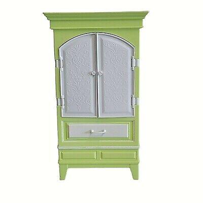 Mattel Barbie Doll My House Furniture Green White Armoire Dresser Wardrobe Desk