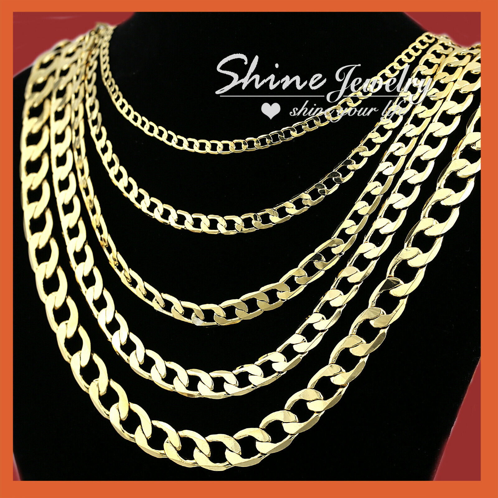 Jewellery - 18K YELLOW GOLD GF FLAT RING CURB CHAIN WOMEN MEN SOLID CHARM 16-30INCH NECKLACE