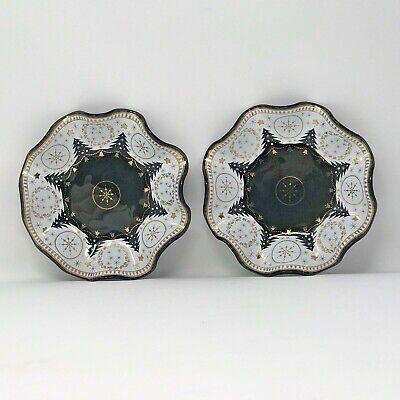 MCM HOUZE ART Smoky Glass Set of 2 Candy Dishes Christmas Trees Black White Gold