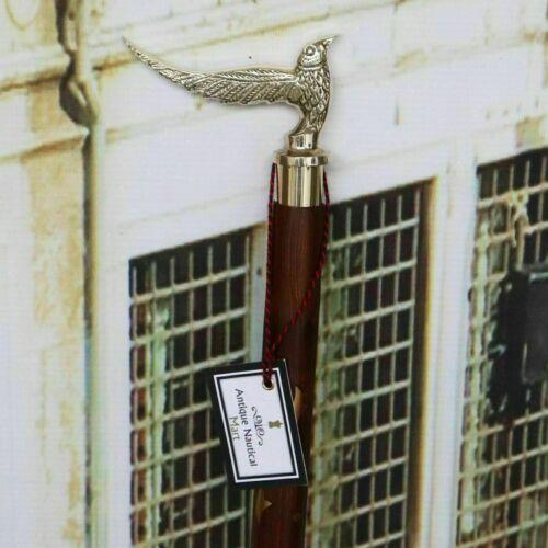 Vintage Brass Bird head Handle Victorian Style Wooden Walking Stick Cane Gift