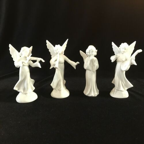 Vintage Dresden Germany White Porcelain Angels Playing Instruments