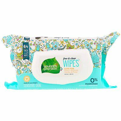 Seventh Generation  Free   Clear Baby Wipes  Unscented  64 Wipes