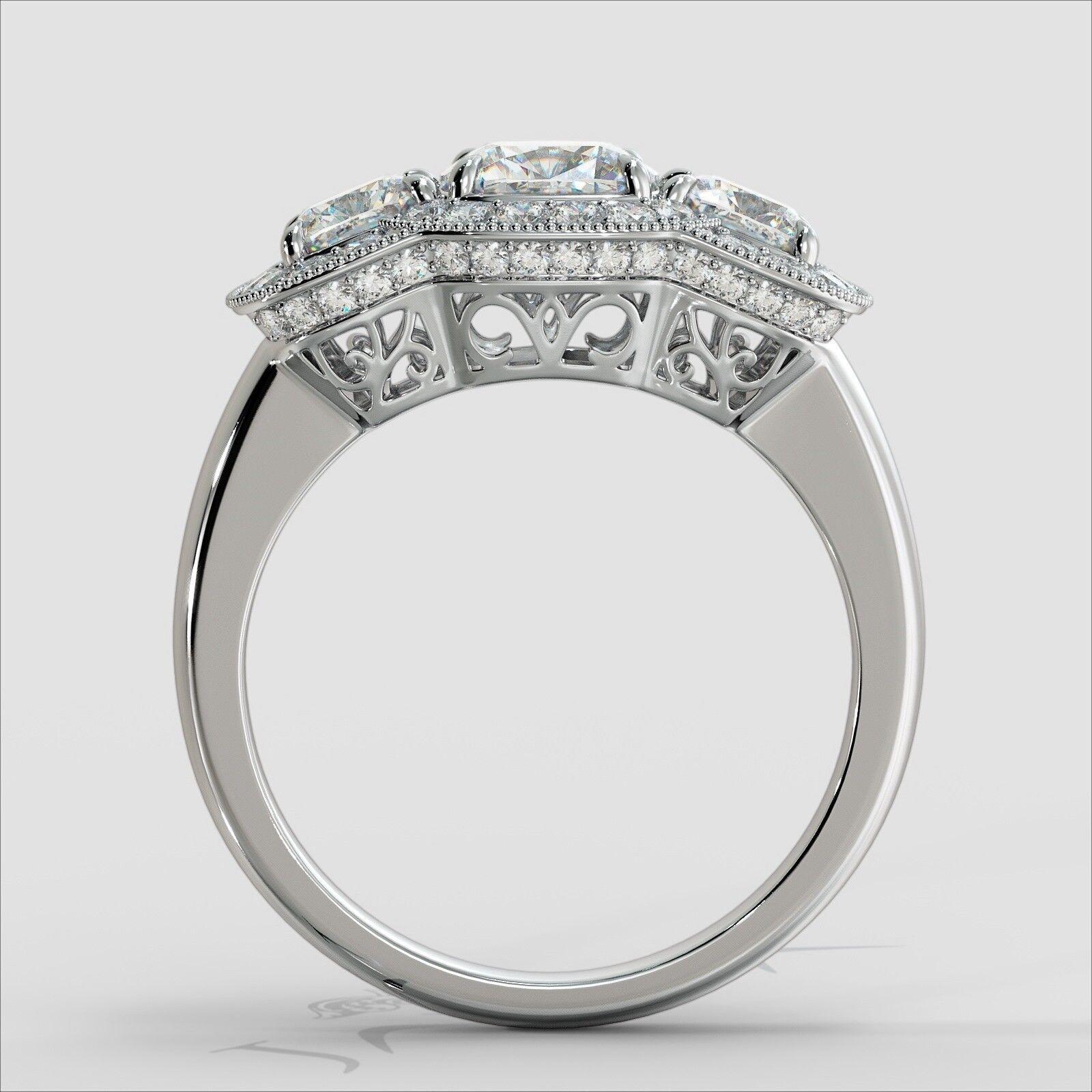 2.25ctw Milgrain Halo 3 Stone Cushion Diamond Engagement Ring GIA I-SI1 W Gold 3