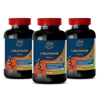 Powerful Muscles - L-GLUTAMINE - Immune Health - Dietary Supplement - 3Bot 300Ct