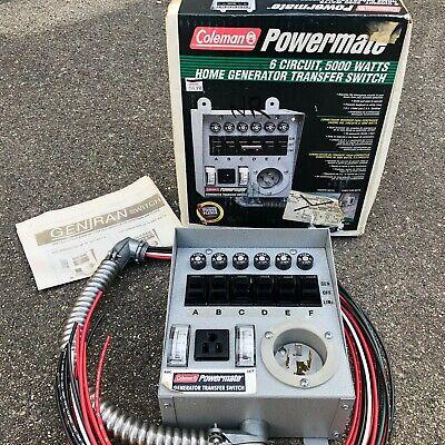 Coleman Powermate 6 Circuit 5000 Watts Home Generator Transfer Switch Nib