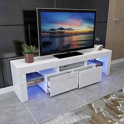 """White 63"""" High Gloss TV Stand Unit Cabinet Console LED Shelve 2 Drawer Furniture"""